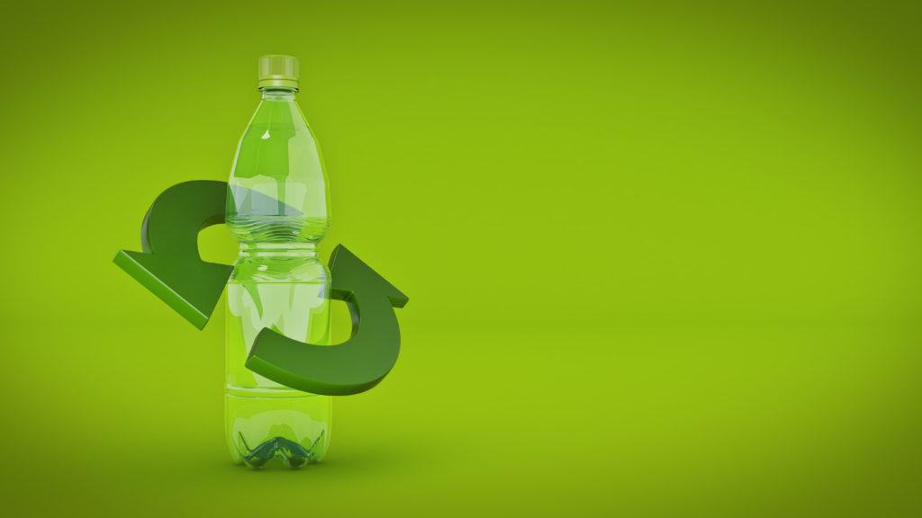 Plastic bottle recycling concept. 3d rendering