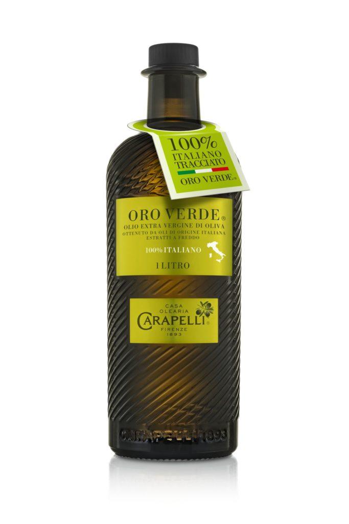 La nuova bottiglia dell'olio Oro Verde di Carapelli