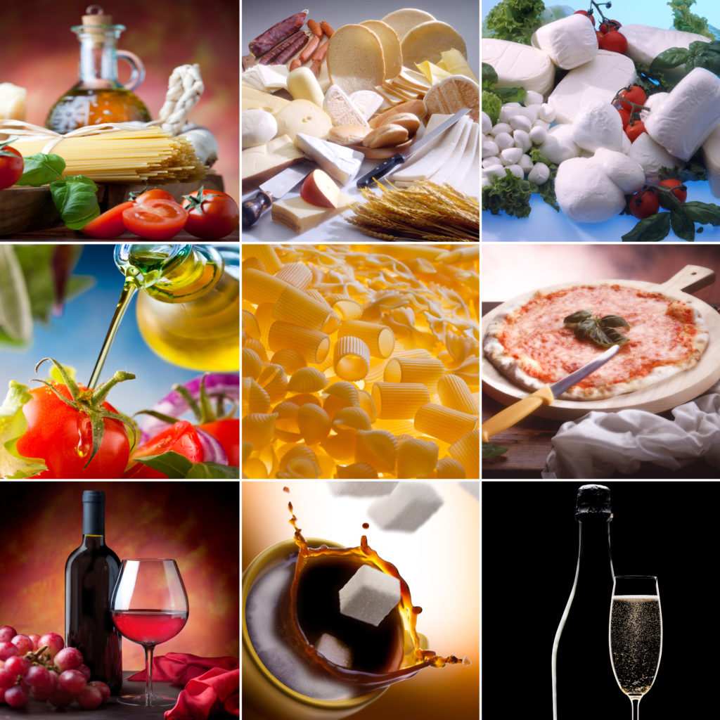 Food collage. Different kinds of italian food.