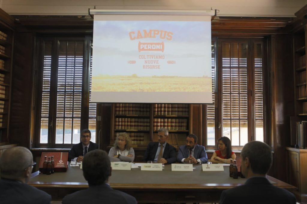 Un momento della presentazione del Campus Peroni