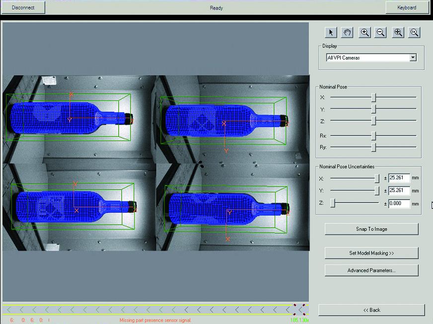 Il sistema VisionPro di Cognex riconosce e ricostruisce il modello 3D delle bottiglie su ognuna delle 4 camere
