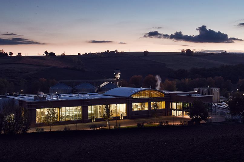 Veduta aerea della malteria e del birrificio