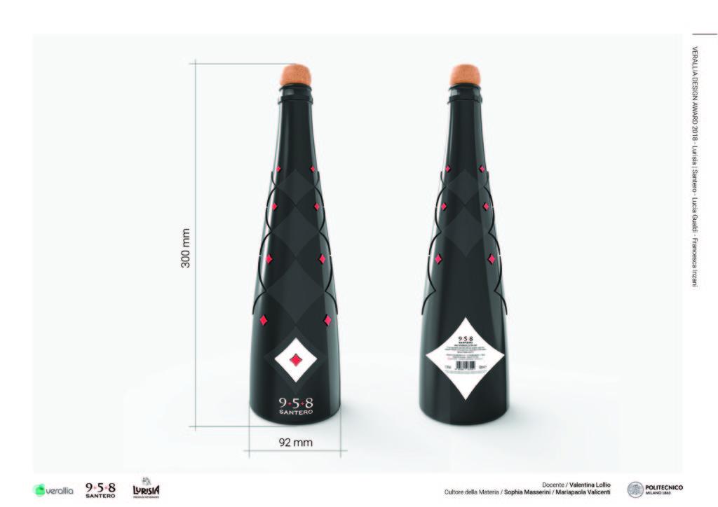 La bottiglia da spumante ACE BLACK progettata da Lucia Gualdi e Francesca Inzani per Santero